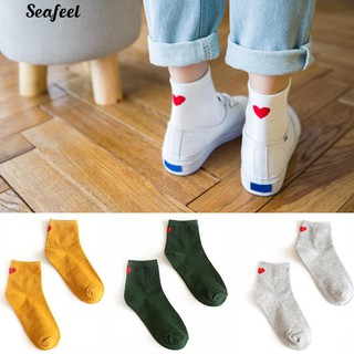Women's Harajuku Sweet Love Heart Pattern Cotton Breathable Long Socks