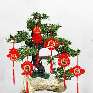 6pcs 新年盆景挂饰Chinese New Year Decoration Bonsai Pendant Indoor Outdoor Scene Layout Flocking Tree CNY Decoration