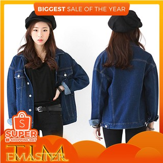 TMR Spring Girl Cowboy Coat Loose Long Sleeved BF Style All-Match Denim Jacket