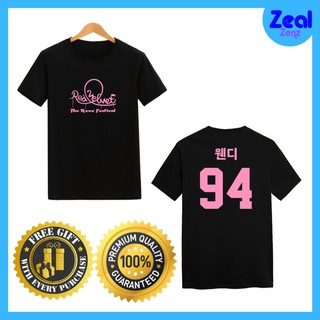 Red Velvet T-Shirt Kpop Wendy Korea Font Premium Quality Cotton Tshirt Round Neck Unisex T Shirt Version Pink Logo