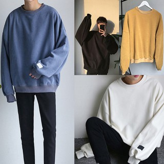 Autumn Oversize Men Loose Solid Color Long-sleeved Hooded Round Neck Sweater