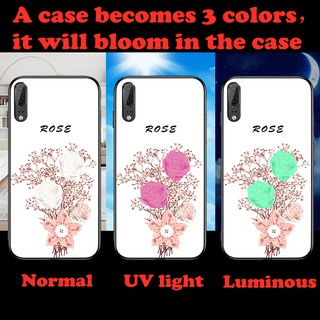 one Case Change 3 colors Luminous UV indoor tempered glass case for Huawei p30 p20 nova4e mate20 honor 8x Max