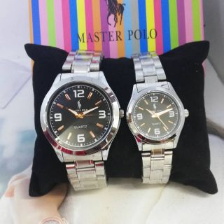 Master polo Couple set jam tangan lelaki wanita Stainless steel  hot Sales !! Murah !