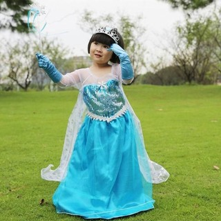 Girls Blue DRESS Queen Princess Cosplay Party Costume with CAPE Size 4-11Y