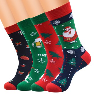 1 Pair Christmas Casual Socks Unisex Festive Colorful Fancy Design Deer Snowflake Santa Cozy Novelty Socks Xmas Gift