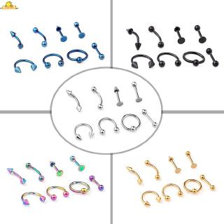 Body piercing set Lip Mixed Nail Jewelry Accessories Stainless steel Nipple Tragus 8pcs Barbell Tongue Stylish