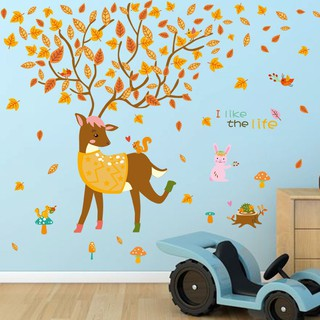 Xl8185 Cartoon Deer Wall Stickers Living Room Bedroom Childr
