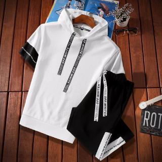 2020 new short-sleeved T-shirt casual sports suit men's two-piece suit new men's Korean elastic sports