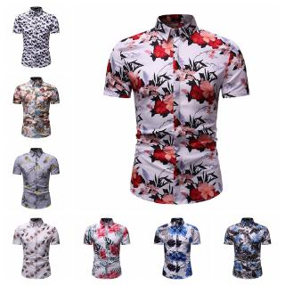 💥[Ready Stock]💥New Casual Fashion Summer New Men's Casual Short-Sleeved Flower Printed Shirt
