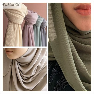 Hot SaleHeavy Chiffon Plain Shawl Pinless Tudung Ironless GJ0028