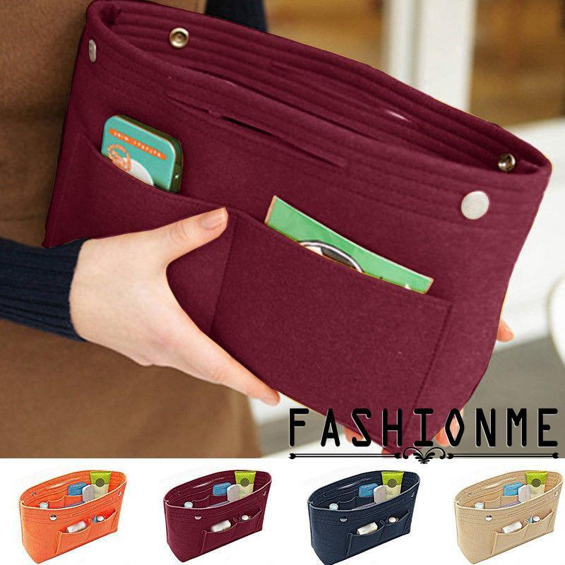 ME.-Women Portable Felt Fabric Purse Handbag Organizer Bag Multi Pocket Insert