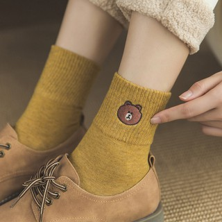 Cute Cartoon Little Bear Embroidery Women Socks Fashion Soild Color Ankle Socks