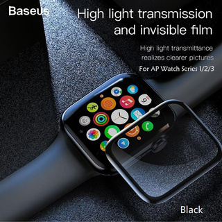 Baseus 0.23MM Apple Watch Curved-Screen Tempered Glass Screen Protector Crack-Resistant Edges(38MM)