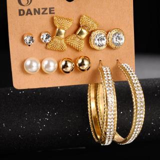 Elegant Heart Bow Stud Hoop Earrings Set Beauty Women Earring Jewelry Accessories