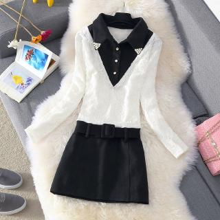 Fashion new autumn and winter plus velvet thick long-sleeved lace dress temperament wild thin beaded collar hair woolen