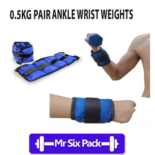 0.5KG X 2 Adjustable Ankle and Wrist Weights Sand Bag Band for Strength Training