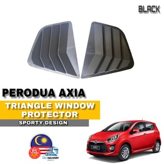 Perodua Axia 2014-2019 Black Rear Side Louver Cover Shark Gill Slits Window Triangle Mirror Cover Protector
