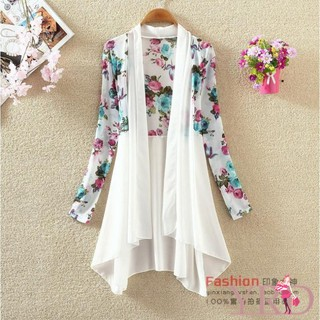 Women Long Chiffon Printting Cardigan Sunscreen Shirts
