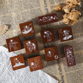 Wandering Space Series Wooden Seal Stamp Lovely Kawaii Handmade DIY Printing and Painting Seal