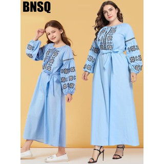T9026 parent-child costume girl big light blue embroidered lace long-sleeved dress Muslim casual dress