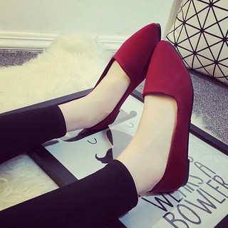 Soft Suede Casual Shoes Lady Office Work Women Flat Shoes Black Red Grey Shoes