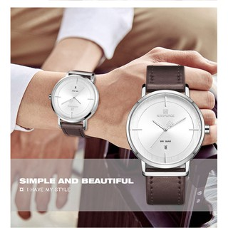 NAVIFORCE Couple Watches Fashion Calendar Leather Strap Waterproof Quartz Watch White
