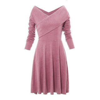 Amazon, Ebay, Europe, and the United States in the summer, the new pure-color v-neck dress for women's leisure