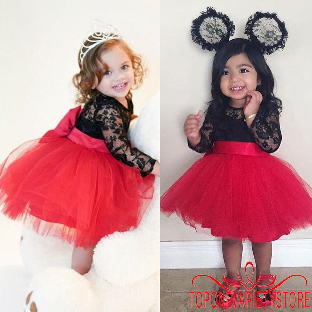 TVM-Latest Hot Fashion Baby Girl Lace Bow Tutu Dress Wedding Pageant Party