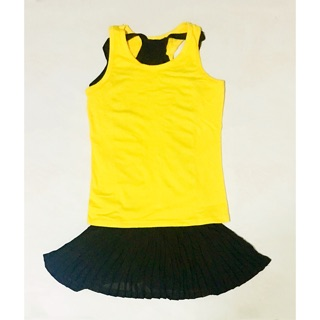 Yellow Tank Top & Black Dress