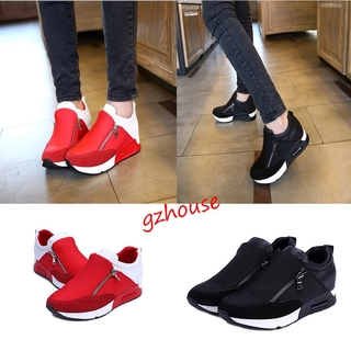 GZHOUSE Women Round Toe Slip On Sneaker Shoes Size Platform