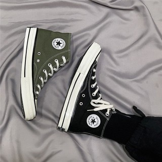 Converse casual canvas shoes black and white semi-slippers flat heel fashion high-barrel retro simple men''s women''s h