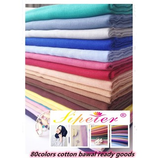 Bawal cotton  plain Muslim scarf Turban Tudung hijab (80 colors ready stock A set)