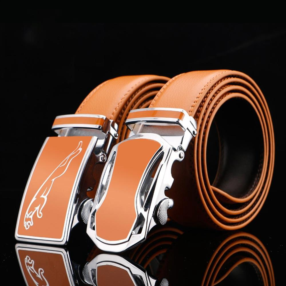 Mens Comfort Belt Genuine Leather Waist Belt With Automatic Click Buckle 120cm