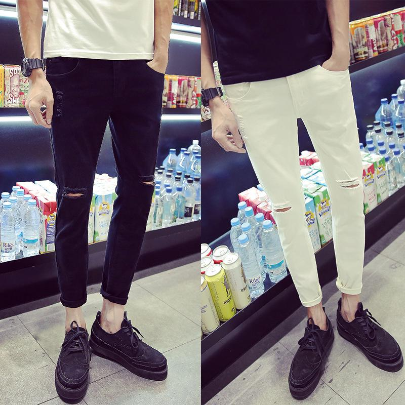 Men's jeans personalized knee holes Korean slim feet trendy men 9-point pants