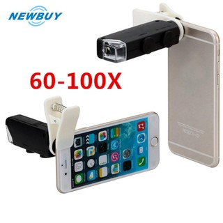 60X to 100X Zoom Microscope Micro Mobile Phone Lens Camera with Universal Clip
