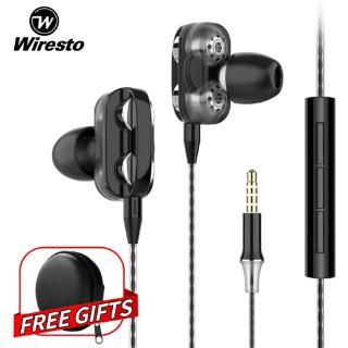 Wiresto In Ear Headphones Earphone Headset Wired Earbuds Soundproof Earplugs Quad Cores Headset No Ear Pain