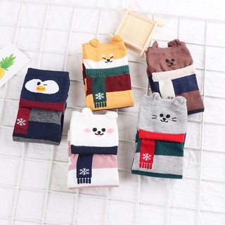 Women's Fashion Cartoon Cute Bear Stripe Print Elastic Soft Breathable Socks