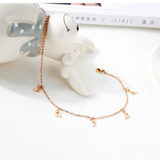 Korean titanium steel rose gold female anklet temperament gold anklet high heel notes foot ornaments