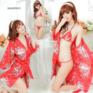 ■Cy Floral Kimono Sleepwear Lady Deep V Three Point Underwear Pajama Nightdress