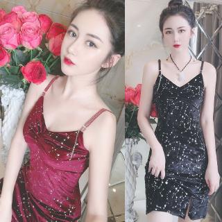 2019 autumn and winter new style Hong Kong style wild sexy dress with gold velvet waist pocket hip bottom dress