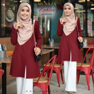 (S-XXL) ZAHLIA BLOUSE | PLAIN MUSLIMAH BLOUSE | NURSING FRIENDLY
