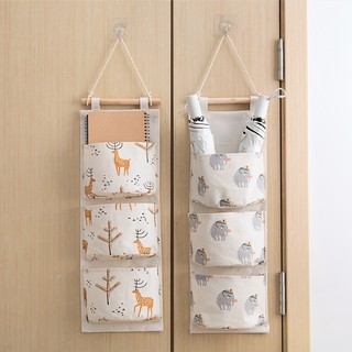 Home receive cotton and linen hanging bags multi-layer fabric pocket the dormitory door wall sundry bag