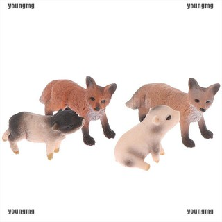 young Simulation Little Fox Squirrel Animal model decor accessories kids figure toys
