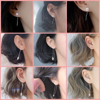 S925 silver earrings anting tassel earring ear line women Modification Face type