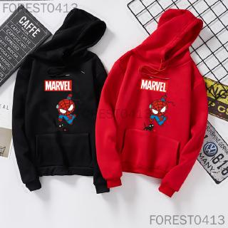 Creative Cartoon Spiderman Printing Lady Long Sleeve Hooded Sweater Fashion Couple Pullover