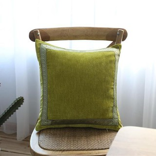 Embroidered green velvet solid color American pillow modern plush sofa cushion bed pillow without co