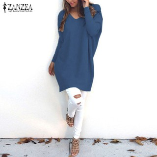 MISSUK 8-24 ZANZEA Women Oversized V Neck Long Sleeve Casual Loose Tops Mini Dress