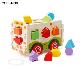 CCH 15Pcs Geometry Kids Early Education Wooden Game Toy Pull Truck Bus Blocks Set