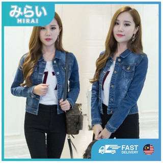 LOCAL Seller MIRAI Long Sleeve Women Denim Jeans Jacket Women Clothing Jaket Sesuai Untuk Perempuan