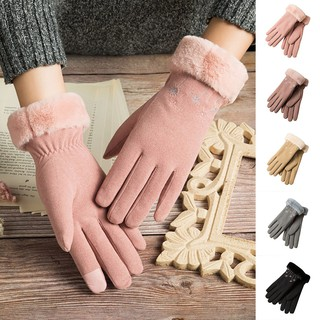 Women's Winter Warm Thickening Plus Velvet Gloves Windproof Outdoor Cycling